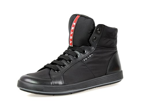Prada Herren Schwarz Leder High-Top Sneaker 4T2842 40 EU / 6 UK