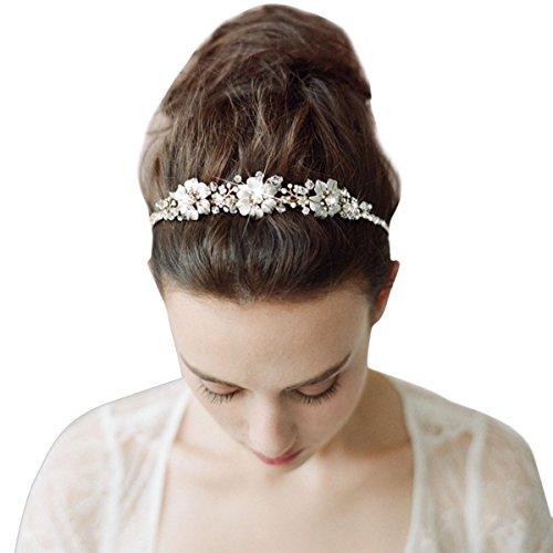 Tininna Vintage-Haarreif, elegant, Brautschmuck mit Blumen und Strass EINWEG Verpackung