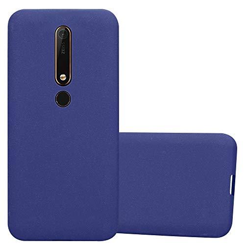 Cadorabo Hülle für Nokia 6.1 2018 in Frost DUNKEL BLAU - Handyhülle aus flexiblem TPU Silikon - Silikonhülle Schutzhülle Ultra Slim Soft Back Cover Hülle Bumper