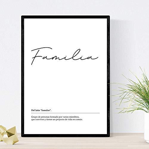 Nacnic Lámina Palabra Familia Lámina nordicas Blanco y Negro. Poster 250 gr y tintas Tamaño A3 Sin Marco