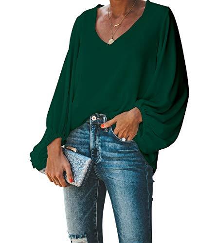 BELONGSCI Women's Casual Sweet & Cute Loose Shirt Balloon Sleeve V-Neck Blouse Top (Wood Green, XL)