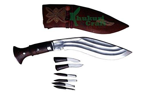 "Khukuri & Craft 9"" Blade 3 fullers ganjawal Best kukri Brown Sheath Working,Military Knives,Handmade, Nepal"