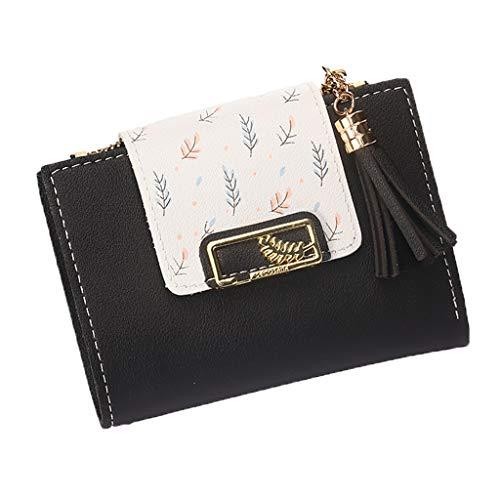 Winkey Mode Frauen Clutch Quaste Kurzdruck Münzgeldbörse Kleine Brieftasche Card Pack Kurze Frauen Clutch Quaste Anhänger Kurze Frauen Brieftasche Geldbörse (Schwarz)