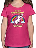 Einschulung und Schulanfang - Bye Bye Kindergarten ich Glitzer jetzt in der Schule Einhorn Schultüte - 116 (5/6 Jahre) - Fuchsia - Schule Kindergarten Shirt - F131K - Mädchen Kinder T-Shirt