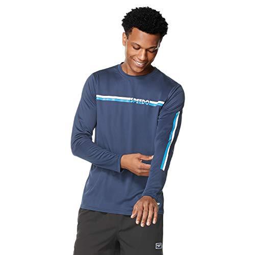 Speedo UV Swim Shirt Graphic Long Sleeve tee Camisa de protección de Sarpullido, Abrigo de Rayas, L para Hombre