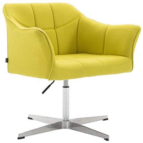 CLP Lounger Jean mit Stoffbezug | drehbarer & höhenverstellbarer Sessel | Lehnstuhl mit Aluminiumgestell | Sitzhöhe von 41-54 cm Grün
