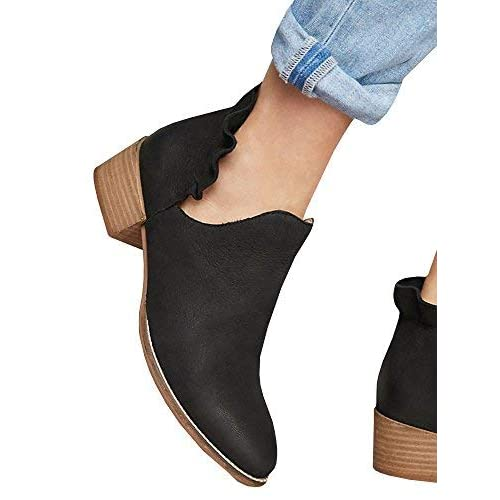 ada3392fe3fd Womens Ruffled Ankle Booties Chunky Low Heel Cut Out Slip-on Pointed Toe  Western Shoes