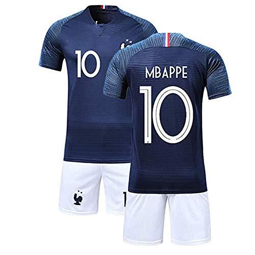 Conjunto de ropa de deporte, camiseta y pantalón corto del Mundo Francia con 2 estrellas de fútbol azul 28