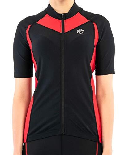 SILIK Damen Fahrradtrikot Rennrad Kurzarm Oberteil T-Shirt Mountain MTB Geschenk Downhill Bergatmungsaktiv Rot Medium