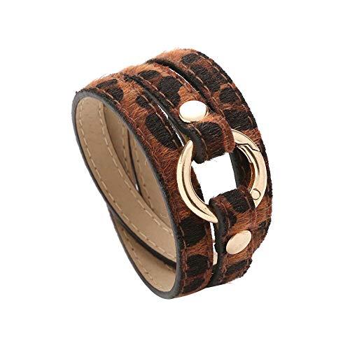 Armreif für Damen und Frauen, mehrlagig, Leopardenmuster, lang, Kunstleder, Armreif, Schmuck, Perlenarmband, handgefertigt