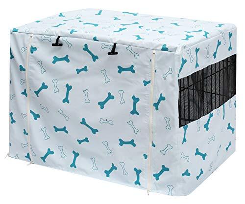 Geyecete - Funda para cajón de perro de poliéster duradero para jaula de perro, ajuste universal, se adapta a la mayoría de perreras de perro de 61 a 48 pulgadas, solo cubierta azul claro-36 pulgadas