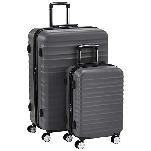 AmazonBasics  - Juego de 2 maletas rígidas giratorias prémium (55 cm, 78 cm), gris