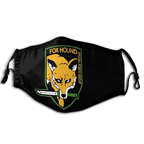Reusable Cloth Face Mask Metal Gear Solid Fox Hound  Comfortable and Breathable Black Masks