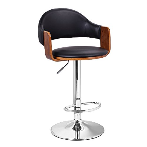 Adeco Extremely Comfy with Extra Padding and Larger Seat Black Modern Adjustable Swivel Hydraulic Bar Stools Low Back Accent Chair, Restaurant and Home