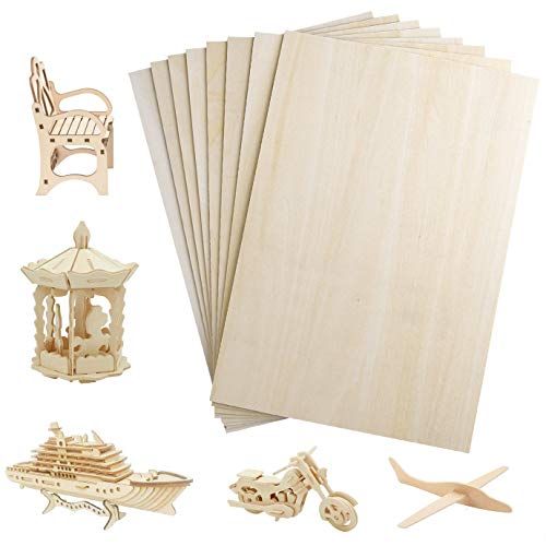 WXJ13 8 hojas de madera contrachapada, 300 x 200 x 1,5 mm, láminas de madera de balsa, balsa, delgadas, para manualidades, casa, avión, modelo de barco