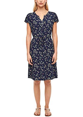 s.Oliver Damen Viskosekleid mit Muster Navy floral AOP 34