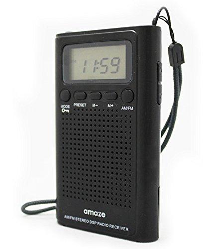 デジタルシンセチューナーAM/FM2バンドポケットラジオ/アラーム時計・オンタイマーつき/乾電池式/ブラック