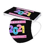 Gpure 10PC Adulto Feliz Año Nuevo Desechable Tela no Tejido De 3 Capas Dibujos Bonitas Letra 2021 Fuegos Artificiales Mujer Hombre Higiencicas 5 Colores Protectora Bufanda (B)