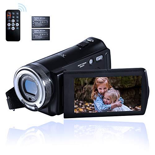 ORDRO Camcorder Nachtsicht Videokamera YouTube Vlogging Kamera Recorder FHD 1080P 15FPS 30MP 3,0 Zoll 270 Grad Drehung LCD 16X Digital Zoom Camcorder mit 2 Batterien und 16 GB SD-Karte