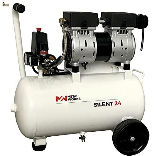 BricoLoco Compresor aire silencioso portátil, pequeño y ligero. 9 bares de presión. 1 CV de potencia. Depósito 24 lts....