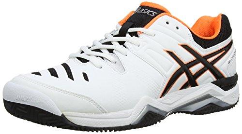ASICS Gel-Challenger 10 Clay, Herren Tennisschuhe, Weiß (White/Onyx/Flash Orange 199), 47 EU