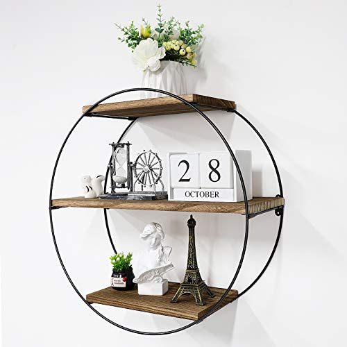 Satmonun Floating Shelves for Wall, Rustic Wood Geometric Style Decor Shelf for Bathroom Bedroom Living Room Kitchen Office (Round, Natural)