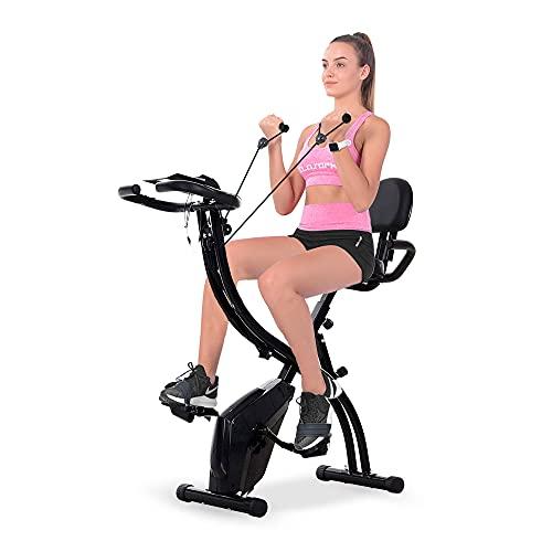 Bicicleta Estatica Plegable con Bandas de Resistencia y Respaldo, Bici de Fitness con Sensores de Pulso, Aparato de Ejercicio en Casa, F-Bike, 8 Niveles de Resistencia, Entrenamiento Cardio