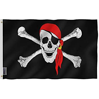 Anley Fly Breeze 3x5 Foot Jolly Roger Flag with Red Bandana - Vivid Color and Fade Proof - Canvas Header and Double Stitched - Pirate Flags Polyester with Brass Grommets 3 X 5 Ft