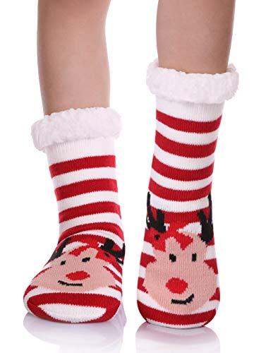 YEBING Kids Boys Girls Slipper Socks Cute Animal Fuzzy Winter Warm Fleece Lining Christmas Socks With Grippers Stripe Deer,3-5 Year Old