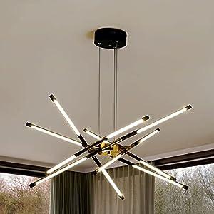 Modern Sputnik Chandeliers LED Chandelier Ceiling Light Gold and Black Chandelier Easy to Install Embedded Pendant Lights New Art Hanging Lamps for Dining Room,Kitchen,Bedroom,Living Room (12 Heads )