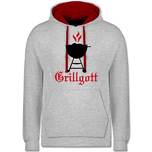 Shirtracer Grill - Grillgott - XS - Grau meliert/Rot - Koch - JH003 - Hoodie zweifarbig und Kapuzenpullover für Herren und Damen