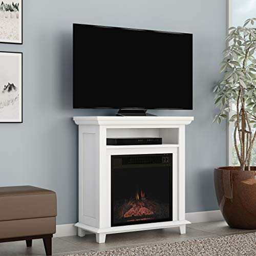 """Northwest 80-FPWF-2 Electric Fireplace TV Stand– 29"""" Freestanding Console with Shelf, Faux Logs and LED Flames, Space Heater Entertainment Center (White)"""