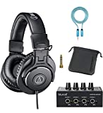 Audio-Technica ATH-M30x Professional Studio Monitor Headphones for Studio Tracking and Mixing (Black) Bundle with Blucoil 4-Channel Headphone Amplifier, and 6-FT Headphone Extension Cable (3.5mm)