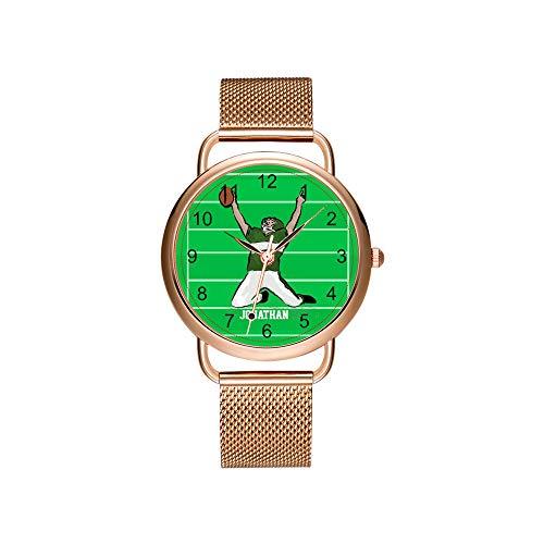 Frauen Uhren Marke Damen Mesh Gürtel ultradünne Uhr wasserdichte Uhr Quarzuhr Weihnachten Benutzerdefinierte Football Player Touchdown Grün und Weiß Uhr