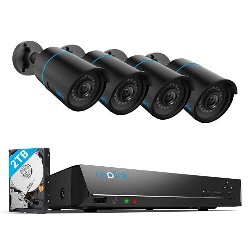 Reolink 5MP 8CH PoE Kit de Cámaras Vigilancia, con 4pcs Detección de Personas/vehículos PoE Cámaras Impermeable y 4K 2TB HDD NVR para Grabación Continua Visión Nocturna Audio, RLK8-510B4-A Negro