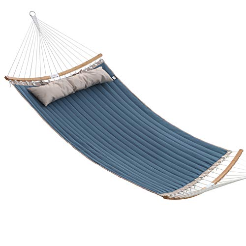 SONGMICS Hammock, Padded Double Hammock, Quilted Hammock with Hanging Straps, Detachable Curved Spreader Bars, Pillow, 78.7 x 55.1 Inches, Load Capacity 495 lb, Blue and Beige UGDC034I01