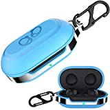 HALLEAST for Galaxy Buds+ Plus Cover, Galaxy Buds Carrying Case TPU Full Protective Skin with Keychain Compatible Samsung Galaxy Buds Wireless 2019 2020 Earbuds Accessories, Light Blue