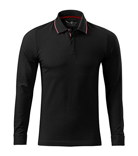 Adler Modisches Herren Poloshirt Longsleeve - Super Premium Stoff & Shirt Schnitt | 95% Baumwolle | S - XXXL (258-Schwarz-2XL)