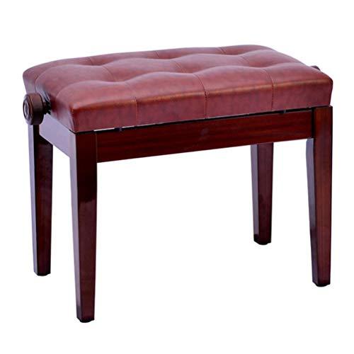 GYXZM Taburete de música altura ajustable Banco de teclado taburete de piano, taburete de piano de cuero de la PU taburete de teclado, rojo marrón, 56 (L) X 35 (W) X 45 – 55 (H) cm taburete de tambor