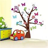 EWQHD Búhos Sabios Mariposas En Las Pegatinas De Colores Búho Del Árbol Para Los Niños Habitaciones Decorativos Para El Hogar Del Cuarto De Niños Decoración De La Pared Del Pvc Decal