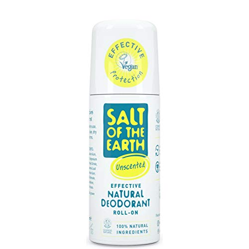 Salt of the Earth - Desodorante natural con roll-on, sin perfume, sin fragancia, vegano, protección de larga duración, aprobado por Leaping Bunny, 75 ml