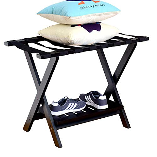 Best Deals! CHAOYANG Hotel Folding Luggage Rack, Travel Rest Stool, Household Solid Wood 2 Layer Clo...