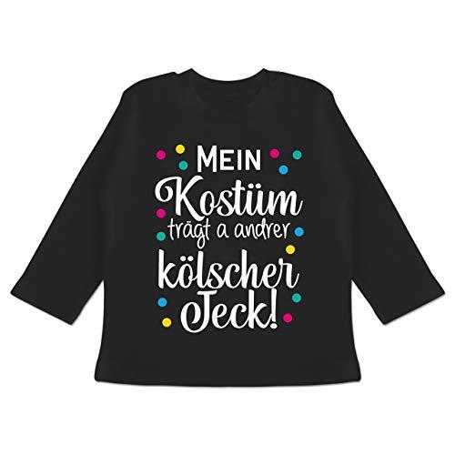 Karneval und Fasching Baby - Mein Kostüm trägt a Anderer kölscher Jeck! -weiß - 6/12 Monate - Schwarz - Mein Kostüm trägt a andrer kölscher Jeck! - BZ11 - Baby T-Shirt Langarm