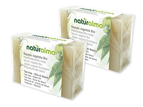 Sapone artigianale vegetale TEA TREE E OLIO DI NEEM Bio 2 X 100g Naturalma lavorazione artigianale a bassa temperatura Vegan
