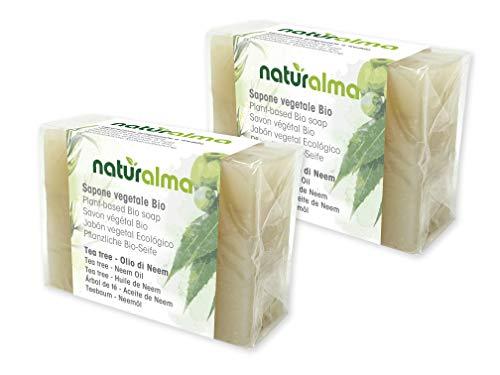 Pflanzliche handwerkliche Seife TEA TREE UND NEEMÖL Bio 2 X 100g Naturalma handwerklichen Kalltverarbeitung Vegan