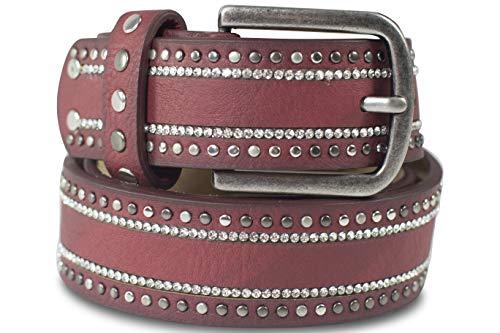 fashionchimp ® Damengürtel im Nieten-Strass-Design, Vintage-Gürtel mit Leder (Beere, 105BW90 - Breite ca. 3cm)