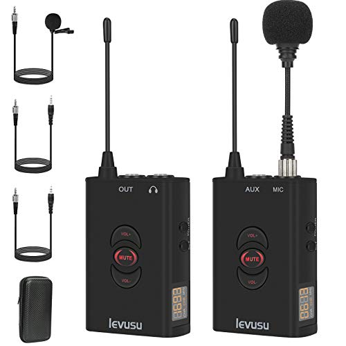UHF 50 Channel Wireless Lavalier Microphone System, 300 Ft Range, AUX In, For Live, Recording,Interview, Teaching, Vlog. Compated With IPhone, Android Phone, GoPro, DSLR Camera, XLR Camcorder, Mac, PC