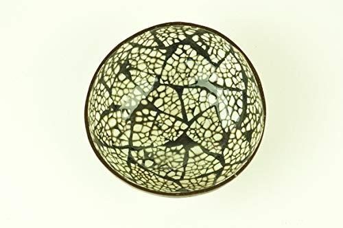 Bol en bois de noix de coco - Fait à la main - Rond - En bois naturel - Laqué brillant - Incrusté de coquille d'œuf - Noir et blanc - H007
