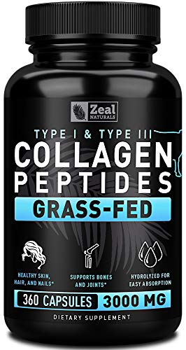 Collagen Peptides Collagen Pills (360 Capsules) Grass Fed Collagen Pepetide Powder - Hydrolyzed Collagen Powder for JointTendon SupplementHair Skin and Nails -