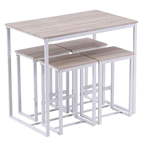 SSLine 5 Piece Breakfast Table and Chair Set, Contemporary Dining Table Set with Four Stools, High Bar Table and Chair Set for Home Kitchen Breakfast Table (Oak White)